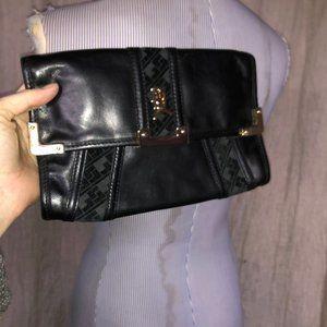 L.A.M.B. Gwen Stefani black leather velvet clutch